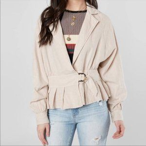 Free People small Joani linen blend almond jacket